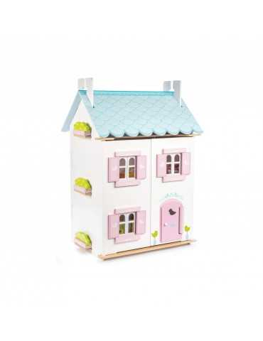 LE TOY VAN BLUE BIRD COTAGGE WITH FURNITURE 44x35x63