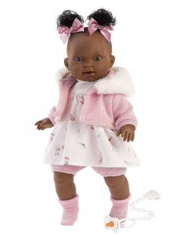 LLORENS DOLL 38cm CRYING BLACK GIRL PINK CLOTHES