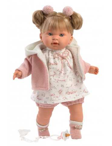 LLORENS DOLL 42cm CRYING BLONDIE PINK WHITE CLOTHES