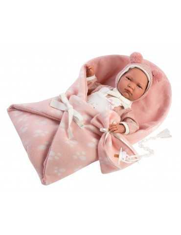 LLORENS DOLL 42cm CRYING BABY GIRL PINK BLANKET