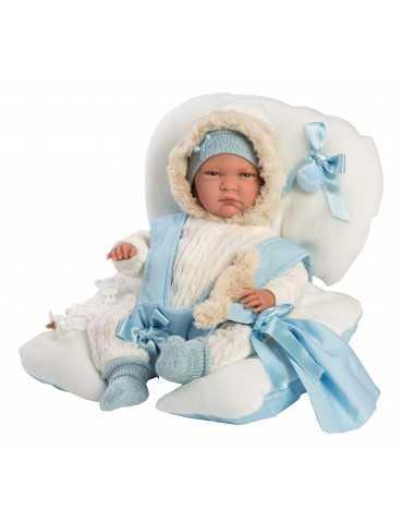 LLORENS DOLL 42cm CRYING BABY BOY LIGHT  BLUE RELAX