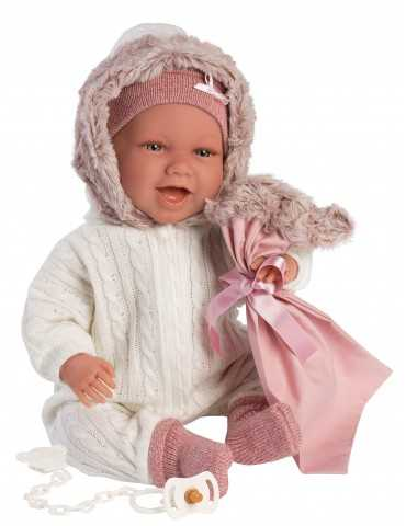LLORENS DOLL 42cm LAUGH BABY GIRL PINK CLOTHES RELAX