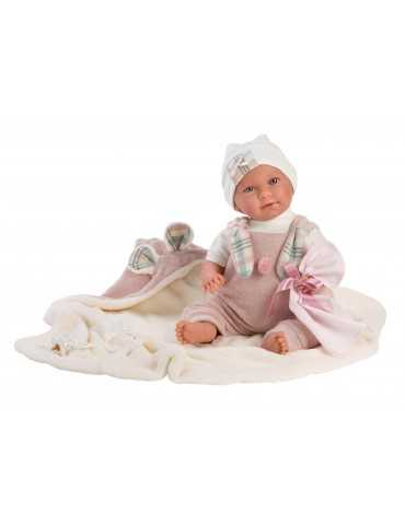 LLORENS DOLL 42cm CRYING BABY GIRL PINK CLOTHES  BLANKET