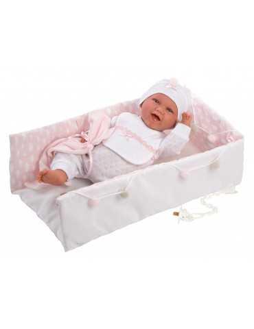 LLORENS DOLL 42cm LAUGH NEWBORN PINK BABY BED