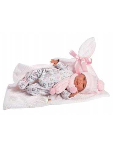 LLORENS DOLL 42cm CRYING NEWBORN GIRL PINK GREY CLOTHES BLANKET