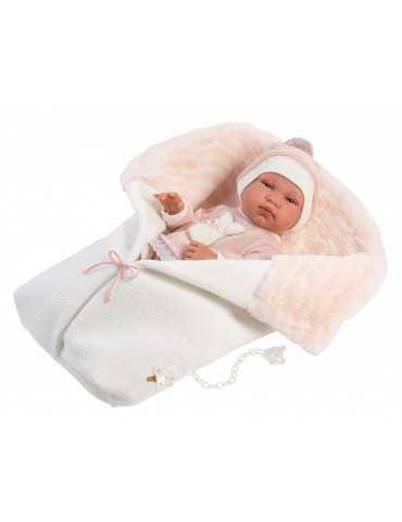 NEWBORN 43cm GIRL  WHITE SLEEPING BAG