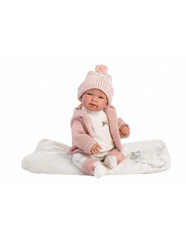 NEWBORN 44cm CRYING WHITE PINK CLOTHES WHITE LAYER