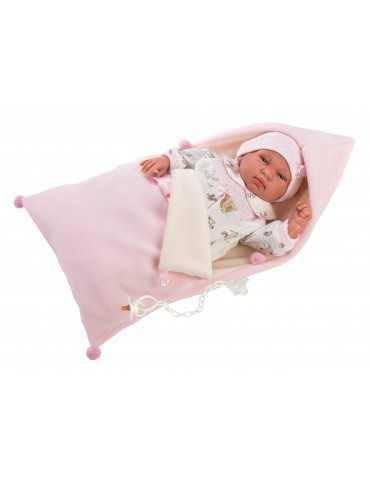 NEWBORN 44cm CRYING GIRL PINK CLOTHES SLEEPING BAG