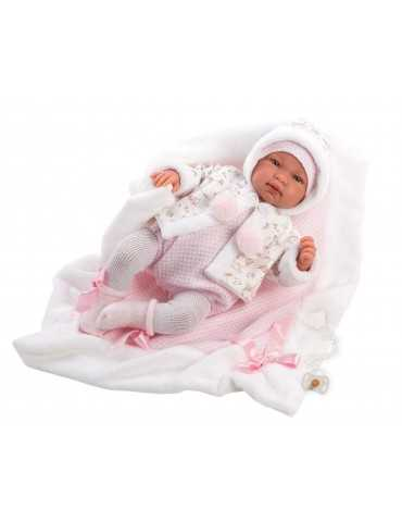 NEWBORN 44cm CRYING GIRL PINK CLOTHES PINK BLANKET