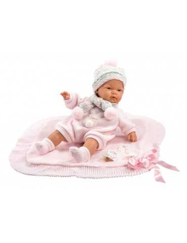LLORENS DOLL 38cm CRYING BABY PINK BLANKET