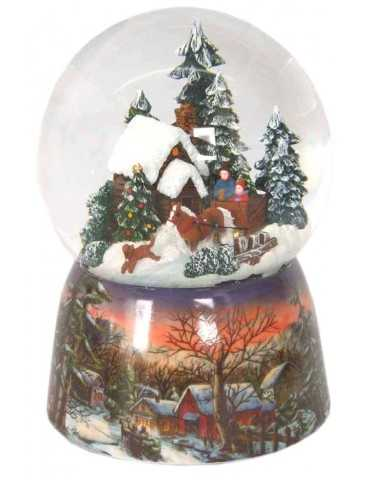 SNOWGLOBE SNOWY HOUSE IN THE FOREST