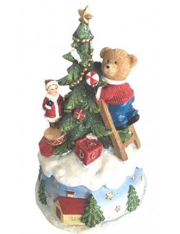 MUSIC BOX BEAR DECORATING CHRISTMAS TREE